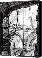 Ruin Drawings Canvas Prints - Plate 4 from the Carceri series Canvas Print by Giovanni Battista Piranesi