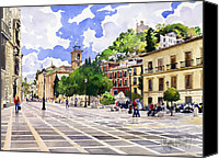 Margaret Merry Canvas Prints - Plaza Nueva and Santa Ana Church Granada Canvas Print by Margaret Merry
