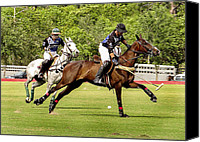 Polo Match Mixed Media Canvas Prints - Polo Match Canvas Print by Dennis Dugan