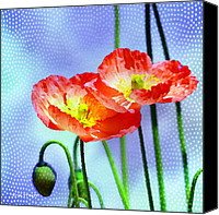 Blue Greeting Cards Canvas Prints - Poppy series - Garden Views Canvas Print by Moon Stumpp