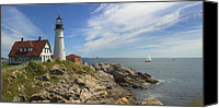 Photography Digital Art Canvas Prints - Portland Head Lighthouse Canvas Print by Mike McGlothlen