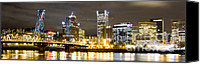 Dustin K Ryan Canvas Prints - Portland Oregon City Lights Panoramic Canvas Print by Dustin K Ryan