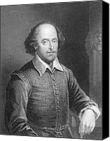 William Drawings Canvas Prints - Portrait of William Shakespeare Canvas Print by English School