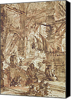 Ruin Drawings Canvas Prints - Preparatory drawing for plate number VIII of the Carceri alInvenzione series Canvas Print by Giovanni Battista Piranesi