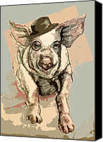 Pet Portrait Digital Art Canvas Prints - Professor Pigglesworth Canvas Print by Alison Schmidt Carson