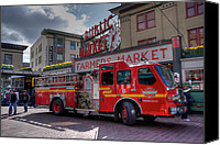 Spencer Mcdonald Canvas Prints - Public Safety at the Market Canvas Print by Spencer McDonald