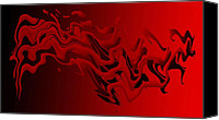 Figures Canvas Prints - Purgatory or Abstract in Red Canvas Print by Mario  Perez