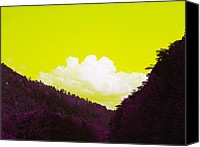 Landscapes Digital Art Special Promotions - Purple Mountains Majesty Canvas Print by Sherry Lasken