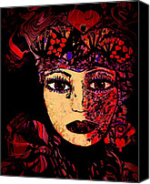 Decorating Mixed Media Canvas Prints - Queen Of Hearts Canvas Print by Natalie Holland