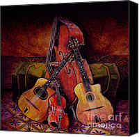 Jazz Instruments Mixed Media Canvas Prints - Quintet Canvas Print by Sol Robbins