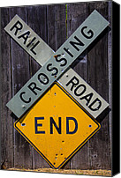 Signage Photo Canvas Prints - Rail Road Crossing End sign Canvas Print by Garry Gay