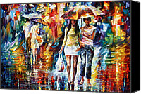 Shopping Canvas Prints - Rainy Shopping Canvas Print by Leonid Afremov
