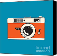 Rangefinder Canvas Prints - Rangefinder Film Camera Canvas Print by Igor Kislev