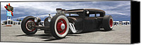 Hot Rod Car Canvas Prints - Rat Rod on Route 66 Canvas Print by Mike McGlothlen