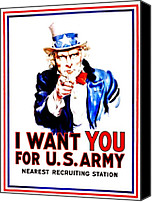 Want Canvas Prints - Recruiting Poster - WW1 - I Want You Canvas Print by Benjamin Yeager