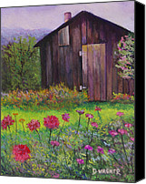 Shed Pastels Canvas Prints - Red and Pink Flowers Canvas Print by Denise Wagner