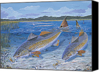 Largemouth Bass Canvas Prints - Red Creek Canvas Print by Carey Chen