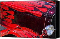 Red Car Canvas Prints - Red flames hot rod Canvas Print by Garry Gay