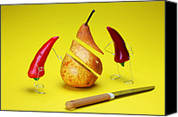 Telling Canvas Prints - Red peppers sliced a pear Canvas Print by Mingqi Ge