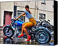 Stillettos Canvas Prints - Red Shoes On A Harley Canvas Print by Tony Reddington
