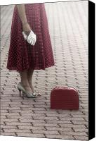 Woman Waiting Canvas Prints - Red Suitcase Canvas Print by Joana Kruse