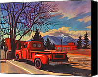 Transportation Painting Canvas Prints - Red Truck Canvas Print by Art West