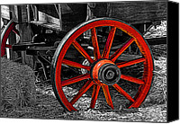 Airbrush Art Digital Art Canvas Prints - Red Wagon Wheel Canvas Print by Jack Zulli