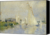 Impressionism Canvas Prints - Regatta at Argenteuil Canvas Print by Pierre Auguste Renoir
