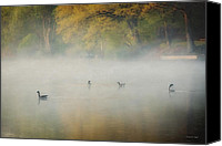 Geese Canvas Prints - River at Sunrise Canvas Print by Everet Regal