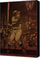 Puerto Rico Drawings Canvas Prints - Roberto Clemente Canvas Print by Christy Brammer