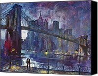 Brooklyn Bridge Canvas Prints - Romance by Hudson River Canvas Print by Ylli Haruni