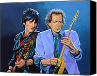Realistic Art Canvas Prints - Ronnie Wood and Keith Richards Canvas Print by Paul Meijering