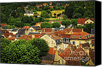 Tiles Canvas Prints - Rooftops in Sarlat Canvas Print by Elena Elisseeva
