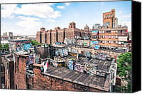 Urban Scenes Canvas Prints - Rooftops of Chinatown - New York City - Brooklyn Bridge Canvas Print by Gary Heller
