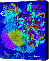 Rooster Canvas Prints - Rooster Blues Canvas Print by Eloise Schneider