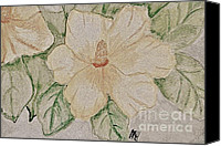 Pale Rose Canvas Prints - Rose of Sharon Painting Canvas Print by Marsha Heiken