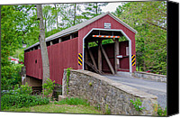 Guy Whiteley Canvas Prints - Rosehill Covered Bridge Canvas Print by Guy Whiteley