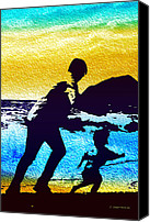 Landscapes Digital Art Special Promotions - Run Daddy Run Canvas Print by Jo-Anne Gazo-McKim