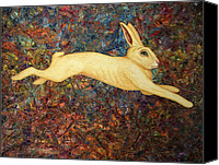 Hare Canvas Prints - Running Rabbit Canvas Print by James W Johnson