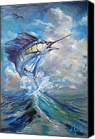 Guy Harvey Canvas Prints - Sailfish and Frigate Canvas Print by Tom Dauria