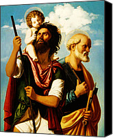 Saint Christopher Canvas Prints - Saint Christopher with Saint Peter Canvas Print by Digital Reproductions