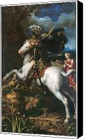 White Horse Painting Canvas Prints - Saint George and the Dragon Canvas Print by Dosso Dossi and Battista Dossi