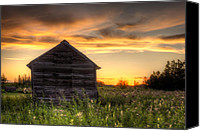 Old Wood Building Canvas Prints - Saskatchewan Sunset Canvas Print by Matt Dobson