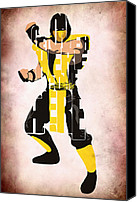 Video Game Canvas Prints - Scorpion - Mortal KOmbat Canvas Print by Ayse Toyran
