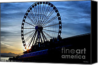 Cheryl Young Canvas Prints - Seattle Great Wheel Canvas Print by Cheryl Young