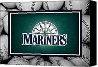 Baseball Canvas Prints - Seattle Mariners Canvas Print by Joe Hamilton