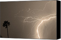 Storm Prints Canvas Prints - Sepia Tropical Thunderstorm Night  Canvas Print by James Bo Insogna