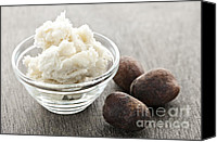 Nuts Canvas Prints - Shea butter and nuts  Canvas Print by Elena Elisseeva