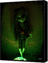 Glow In The Dark Art Canvas Prints - Shes No Barbie Canvas Print by Absinthe Art  By Michelle Scott