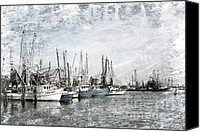 Joan Mccool Canvas Prints - Shrimp Boats Sketch Photo Canvas Print by Joan McCool